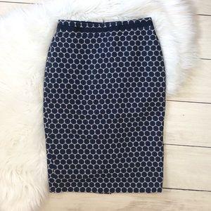 Boden Polka Dot Circle Blue Pencil Skirt
